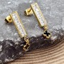 Длинные серьги из стали с покрытием под золото Good luck clover купить №2