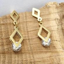 Стильные сережки из стали с ромбовидными подвесками и крупным кристаллом Мимоза