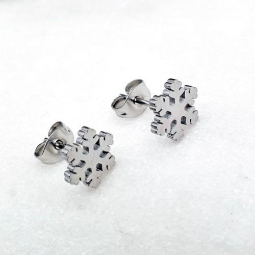 Сережки-гвоздики из хирургической стали в виде снежинки
