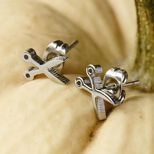 Рокерские серьги гвоздики Брутальные ножницы в двух цветах