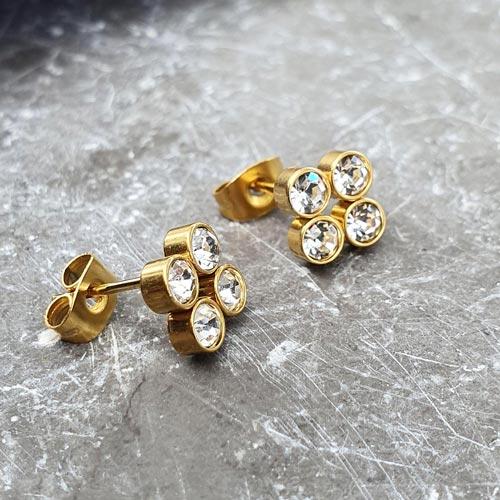 Изящные сережки с застежкой пусет из ювелирной стали Четыре циркония