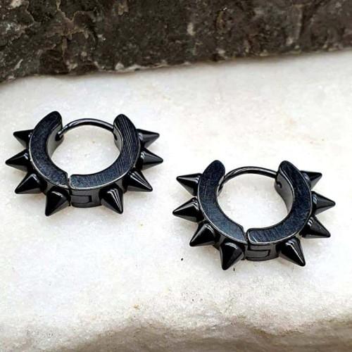 Серьги-кольца из медицинской стали Черные шипы унисекс 4х9 мм