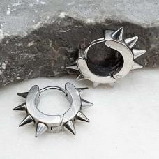 Круглые серьги-кольца из медицинской стали Стальные шипы унисекс 4х9 мм