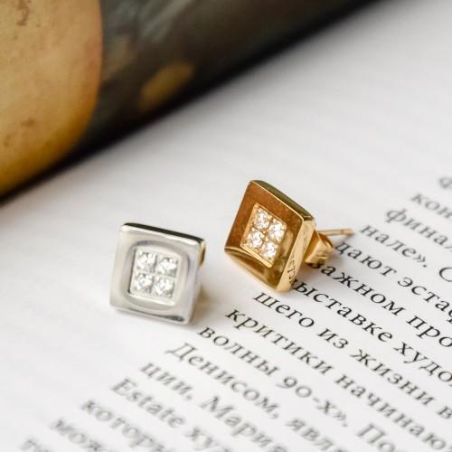 Квадратные сережки с застежкой пусет из стали и белыми фианиитами