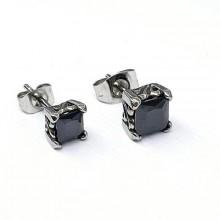 Сережки пусеты из стали унисекс квадратные с черным кристаллом 6 мм