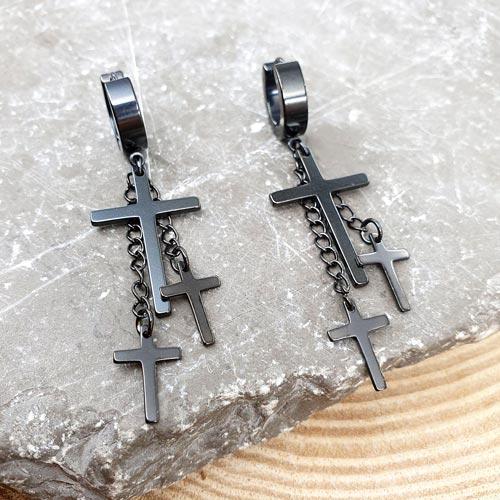 Длинные серьги из медицинской стали Три креста унисекс в трех цветах