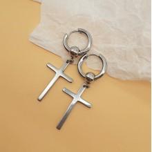 Серьги круглые металлические с бусиной Стальной крест