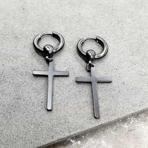 Стальные серьги-кольца с шариком и подвеской-крестом черные