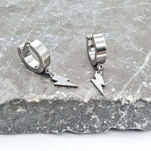 Стальные сережки (конго) с подвесками молния унисекс