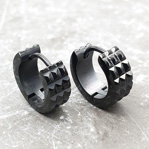 Черные серьги-кольца унисекс из медицинской стали с мелкими шипами в ассортименте