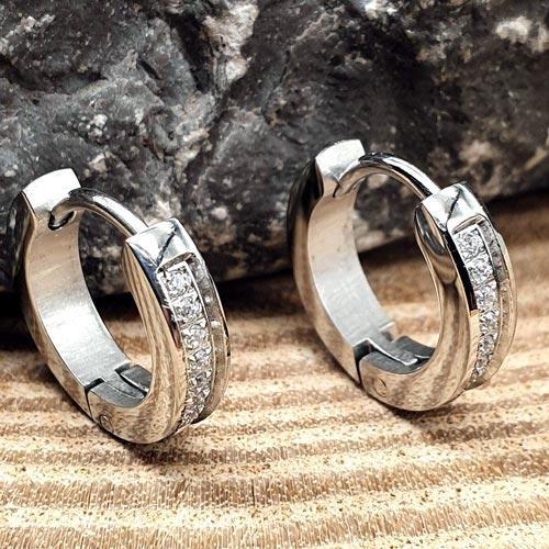 Серьги круглые кольца с кристаллами циркония Серебряный век в ассортименте