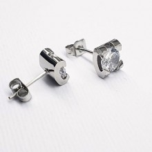 Сережки гвоздики из ювелирной стали с фианитами в двух цветах