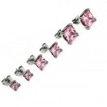Сережки-гвоздики (пуссеты) с квадратным кристаллом Swarovski светло-розового цвета 5, 7 и 9 мм