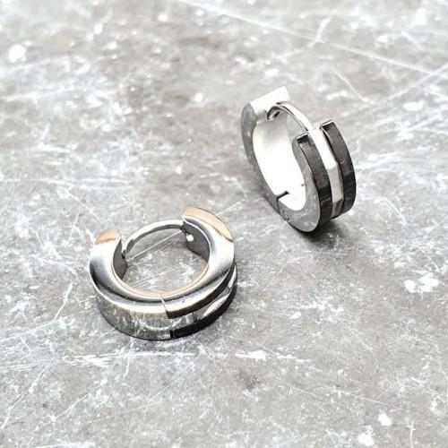 Серьги-кольца из медицинской стали унисекс с черными полосками