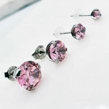 Серьги гвоздики стальные с розовым цирконием 4, 6, 8 и 10 мм