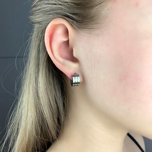 Круглые серьги (конго) в уши из стали унисекс