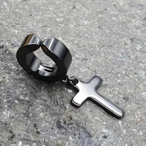 Клипса из черной медицинской стали с подвеской-крестом (1 шт.)