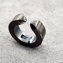 Черные серьги-клипсы из медицинской стали унисекс (1 шт.)