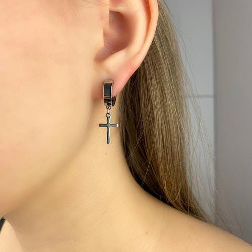 Стальные серьги-клипсы с подвесками-крестиками унисекс (1 шт.)