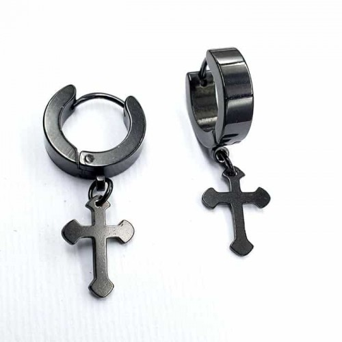 Стильные серьги-кольца из черной стали с крестиками-подвесками