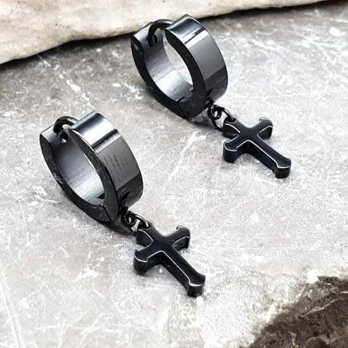 Сережки длинные с крестами из ювелирной стали с покрытием