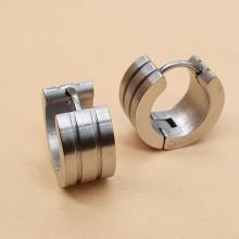 Стальные сережки-конго застежка-кольцо унисекс матовые