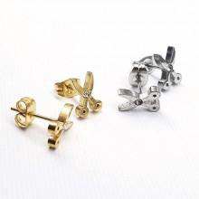 Серьги гвоздики пусеты стальные Ножницы в двух цветах