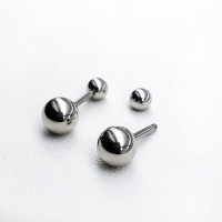 Серьги-закрутки из медицинской стали Шарики в ассортименте 4, 5 и 6 мм