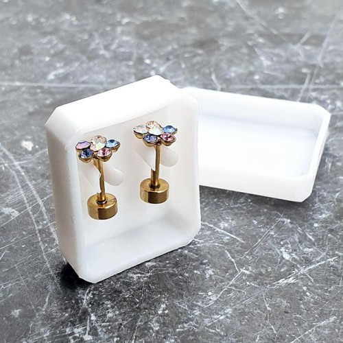 Серьги-закрутки из ювелирной стали с разноцветными циркониями