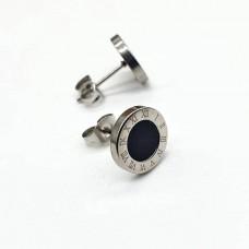 Сережки-гвоздики из хирургической стали с черной вставкой 10 мм