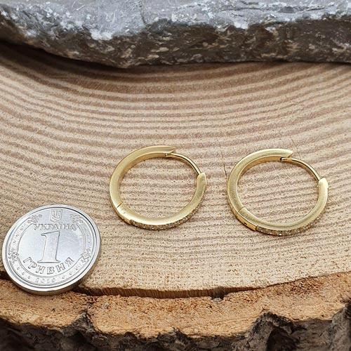 Круглые серьги из медицинской стали с PVD покрытием 11 камней 2 мм