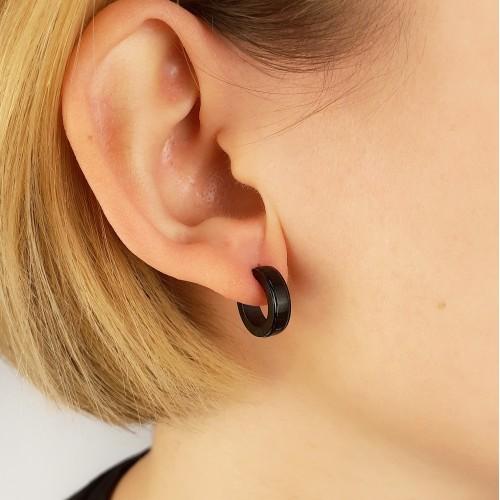 Сережки черные стальные в ухо кольца конго унисекс округлые в нескольких размерах
