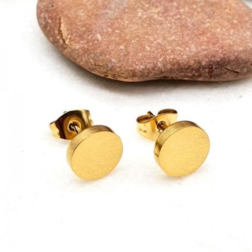 Стальные сережки-гвоздики из ювелирной стали с покрытием Золотой диск