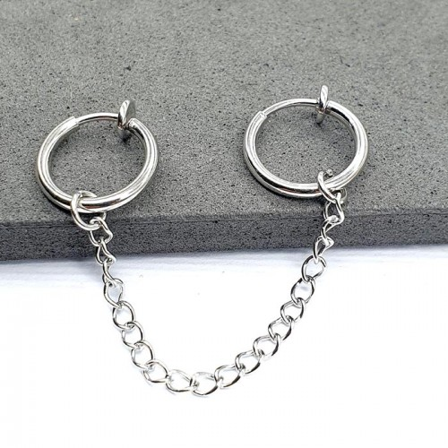 Серьги кольца обманки из медицинской стали на цепочке (1 шт.)
