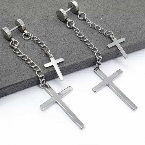 Серьги-закрутки из медицинской стали с двумя крестами-подвесками