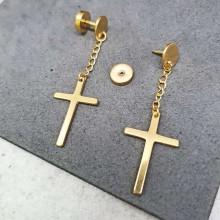 Стальные сережки-закрутки с PVD покрытием и подвесками-крестиками