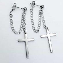 Серьги висюльки с крестом на подвеске-цепочке застежка пусет стальные