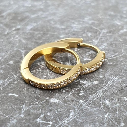 Изящные круглые женские серьги-кольца из медицинской стали 9 камней 2 мм