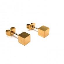 Сережки с покрытием гвоздики Золотой кубик