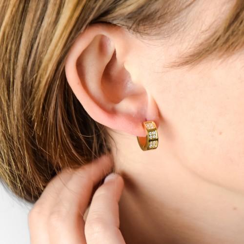 Женские серьги кольца стальные с кристаллами Маргарет