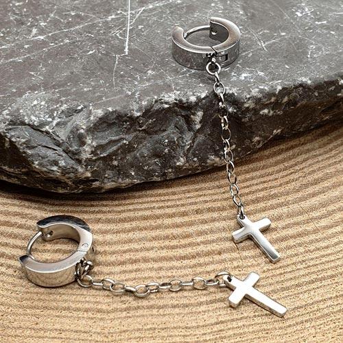 Длинные серьги из медицинской стали женские Стальной крест