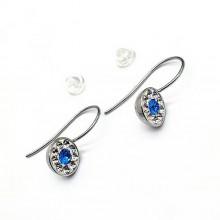 Сережки стальные с кристаллами Swarovski белого и синего цвета