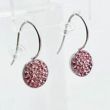 Сережки стальные со светло-розовыми кристаллами Swarovski