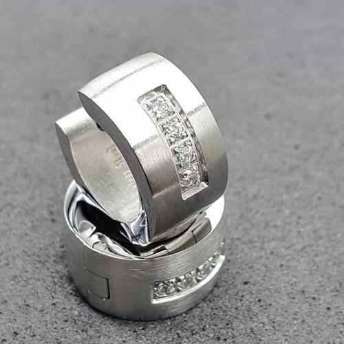 Стальные женские серьги-кольца Четыре камня