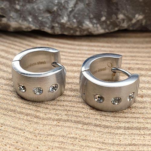 Модные женские серьги-кольца Три камня из медицинской стали