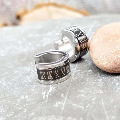 Тематические серьги кольца из стали с римскими цифрами 7 мм
