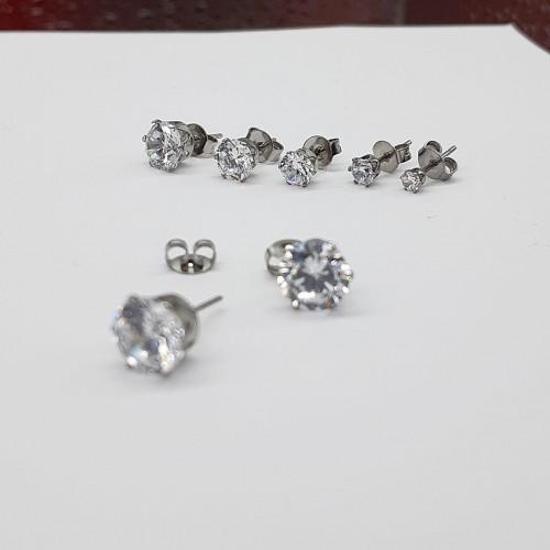 Серьги гвоздики стальные женские Серебряная Лилия