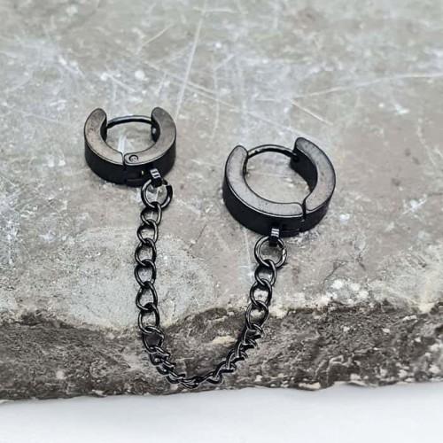 Двойная сережка-кольцо из медицинской стали на цепочке (1 шт.)