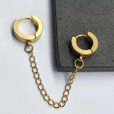 Двойные серьги-кольца на цепочке из ювелирной стали под золото (1 шт.)