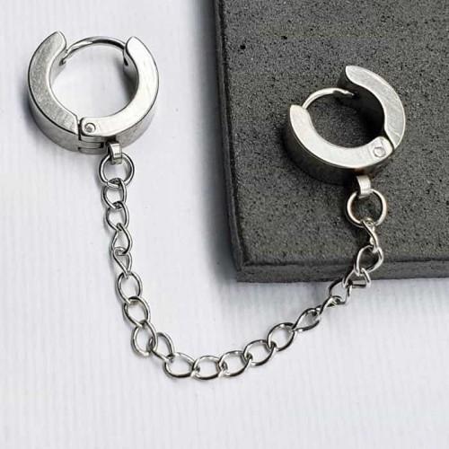 Серьги-кольца двойные из медицинской стали (1 шт.)